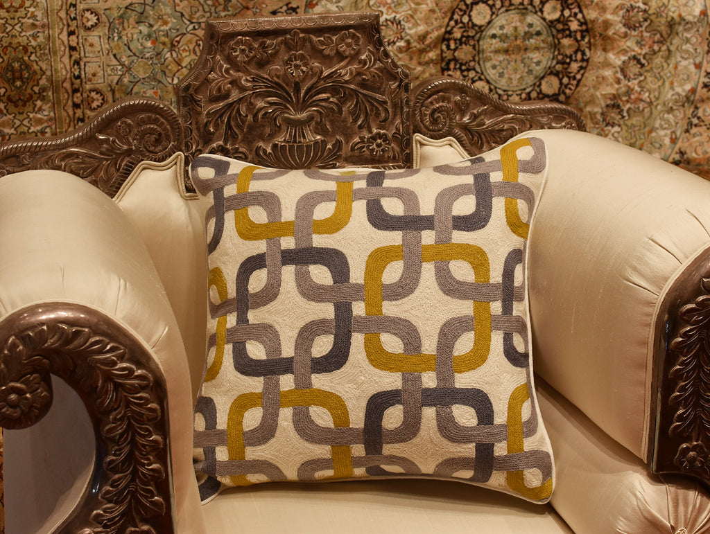 Gotcha Geometric Suzani Ivory Gray Gold Pillow Cover Handembroidered W Kashmir Designs