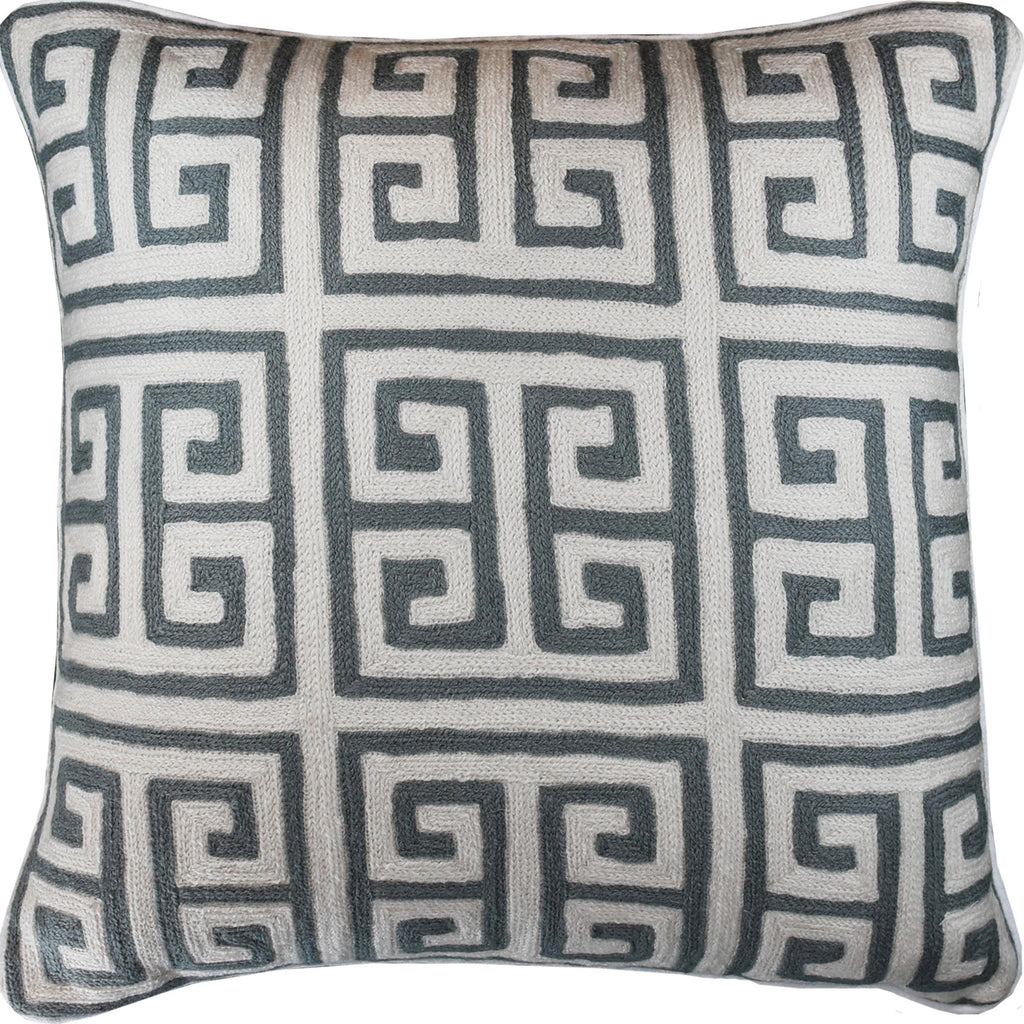 Greek Key Geometric Ivory Gray Accent Pillow Cover Handembroidered Wool  20x20\
