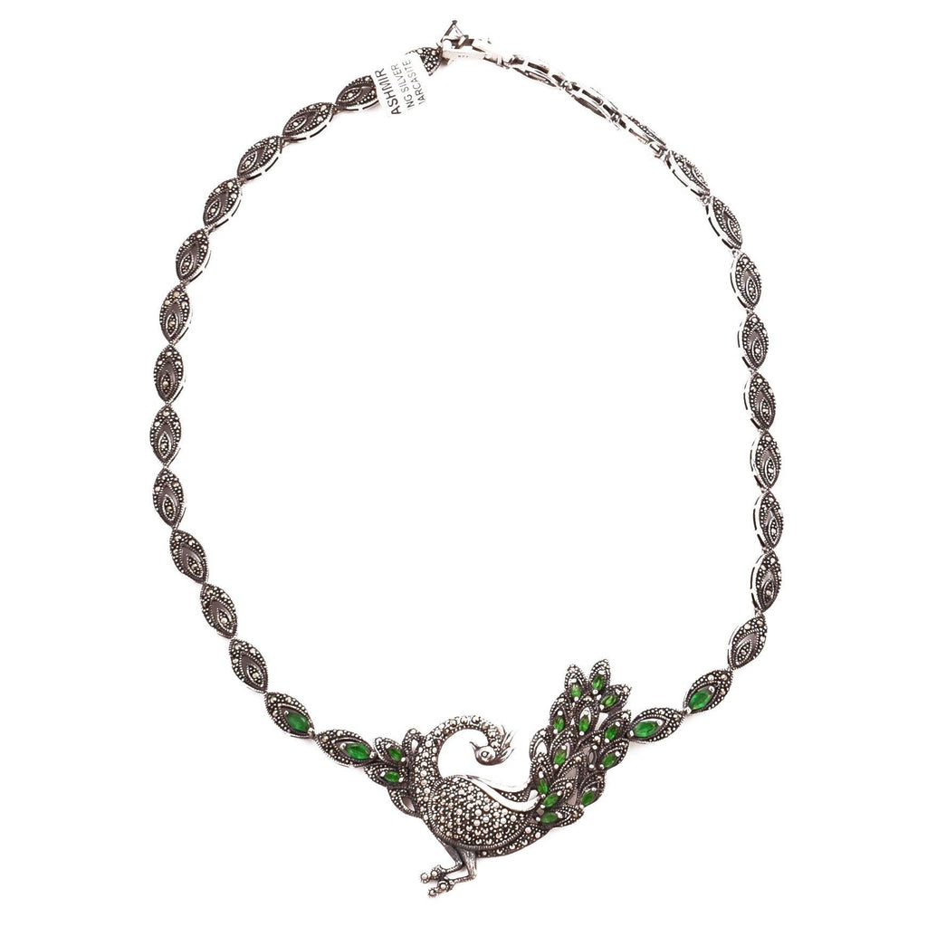 Green Quartz Peacock Necklace Marcasite Choker 925 Sterling Silver Natural Gemstones Handcrafted