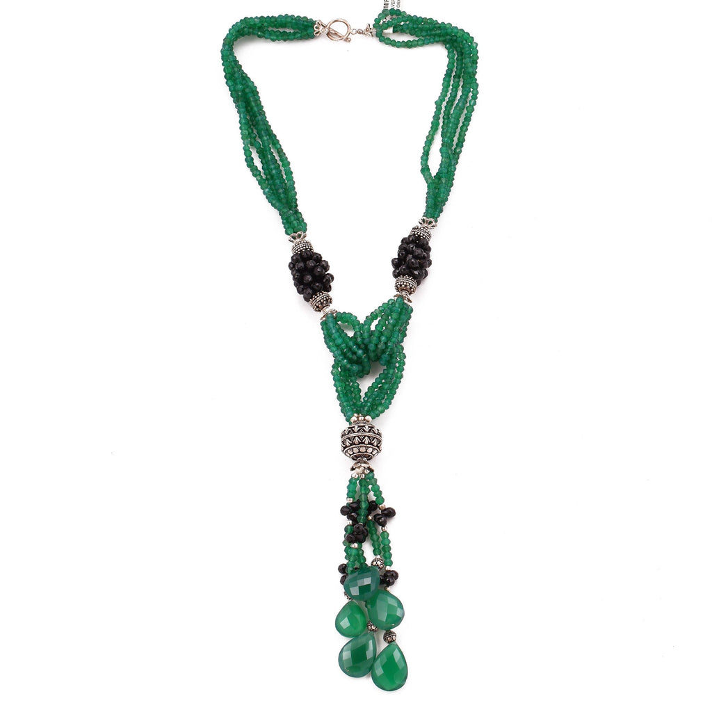 Green Onyx Y Necklace Collar Double Cascade 925 Sterling Silver Natural Gemstones Handcrafted