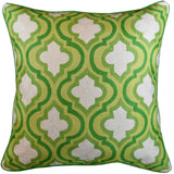 Green Lattice Geometric Decorative Pillow Cover Handembroidered Wool 20x20