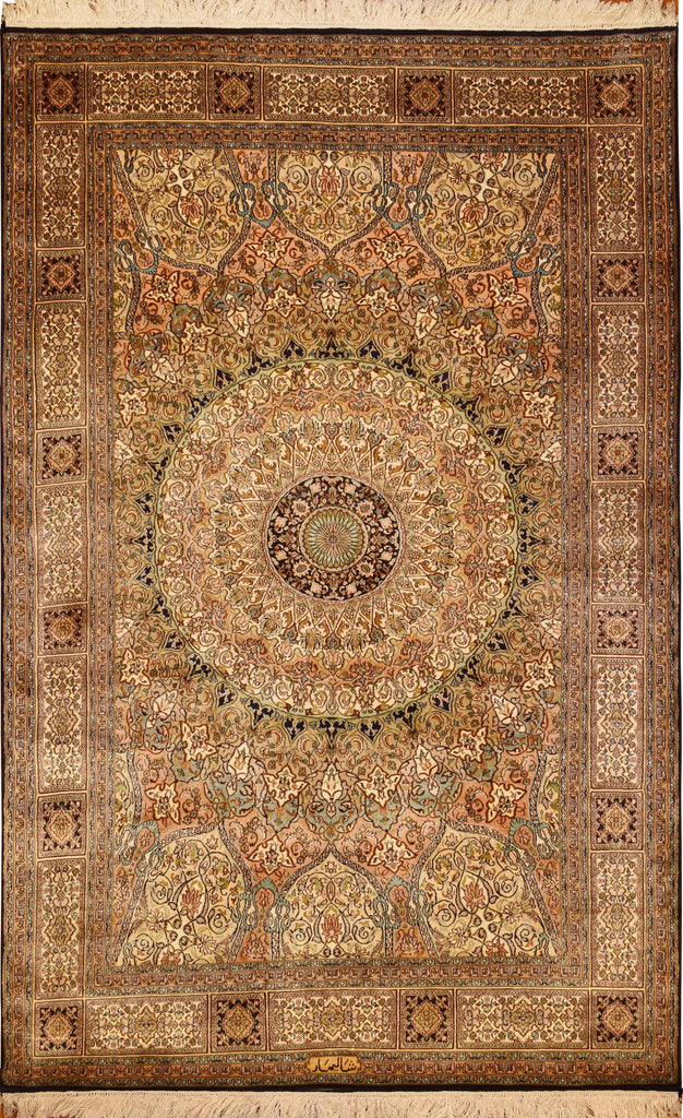 6'x4' Gumbad Pure Silk Area Rug Carpet Shalimar Medallion Oriental Hand Knotted - KashmirDesigns