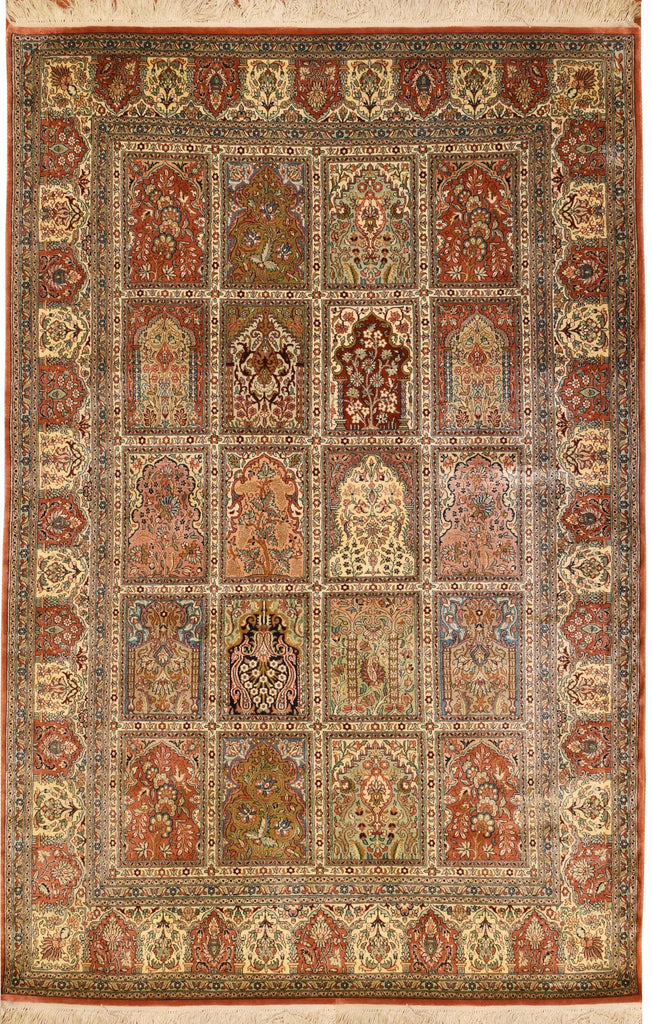 6'x4' Qum Pure Silk Hamdan Area Rug Carpet Tree of Life Oriental Hand Knotted - KashmirDesigns
