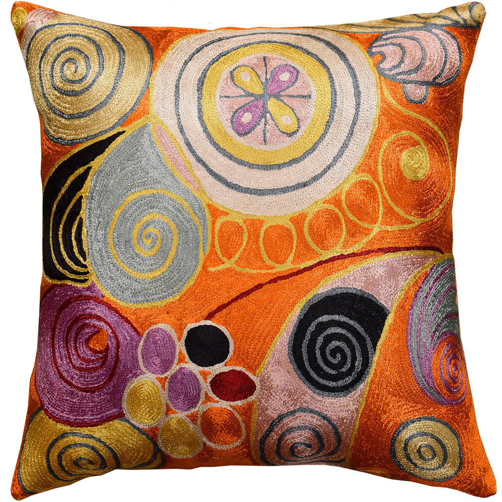 "Hilma Al Klint Orange Rust Accent Pillow Cover Handembroidered Art Silk 18x18"" - KashmirDesigns"