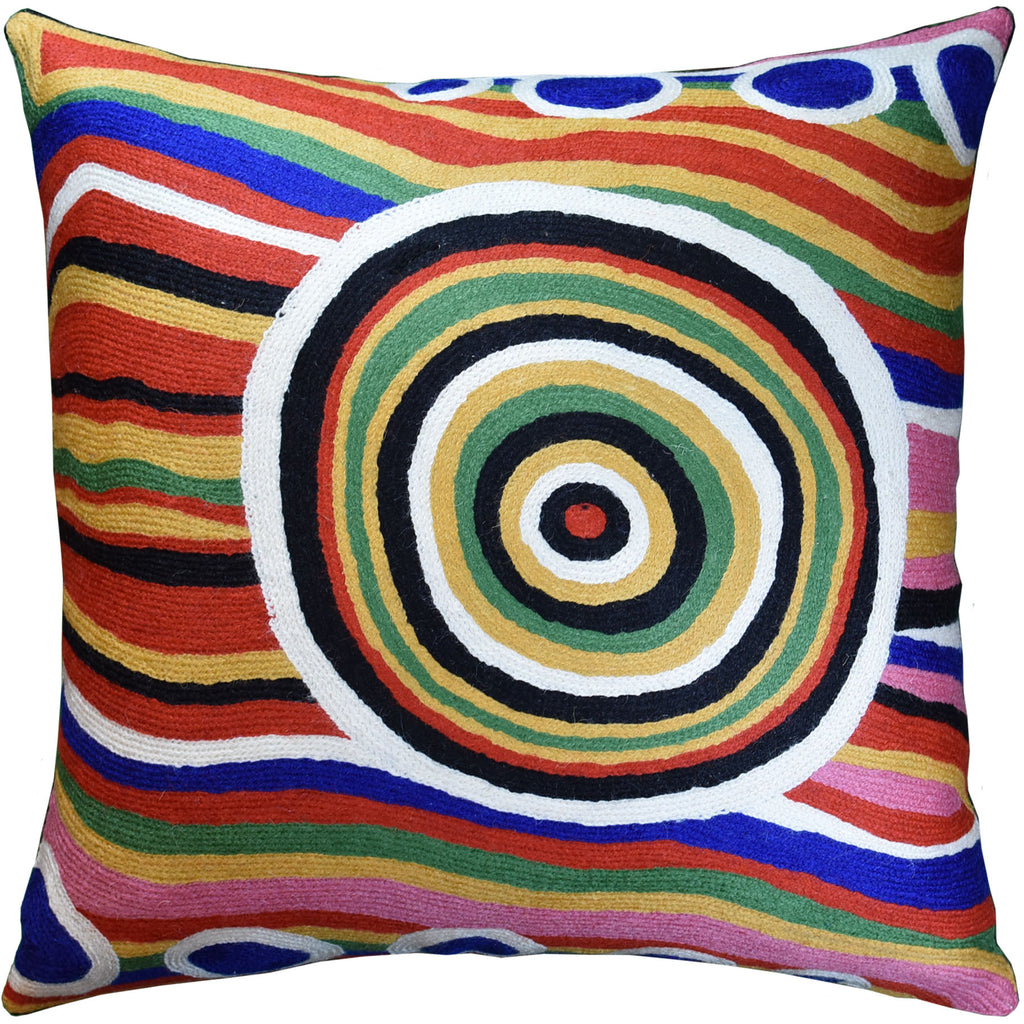 "Hundertwasser Big Way Modern Decorative Pillow Cover Handembroidered Wool 18x18"" - KashmirDesigns"