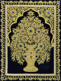 Jewel 1.5ftx2ft Tree of Life Tapestry Wall Hanging Black Gold Zardozi Handmade