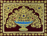 Jewel 1.5ftx2ft Floral Vase Art Tapestry Wall Hanging Red Gold Zardozi Handmade