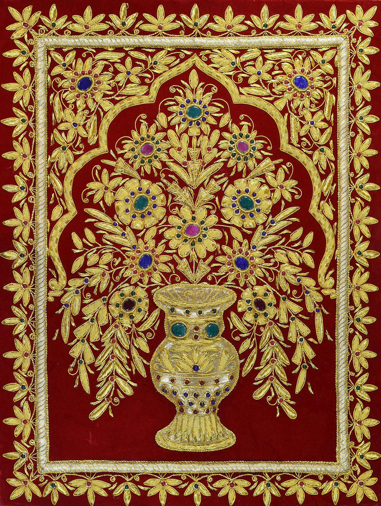 Jewel 1.5ftx2ft Tree of Life Vase Tapestry Wall Hanging Red Zardozi Handmade - KashmirDesigns