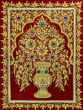 Jewel 1.5ftx2ft Tree of Life Vase Tapestry Wall Hanging Red Zardozi Handmade