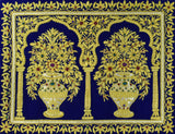 Jewel 1.5ftx2ft Two Floral Vase Art Tapestry Wall Hanging Blue Zardozi Handmade