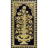 Jewel 1.5ftx3ft Floral Vase Panel  Tapestry Wall Hanging Black Zardozi Handmade