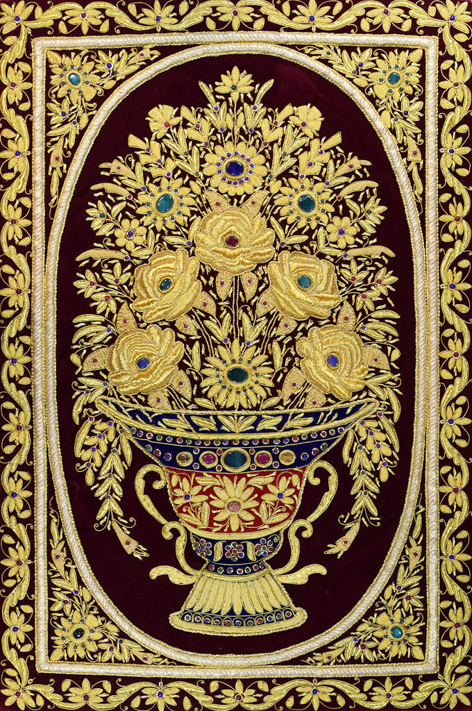 Jewel 2ftx3ft Floral Vase Art Tapestry Wall Hanging Red Gold Zardozi Handmade - KashmirDesigns