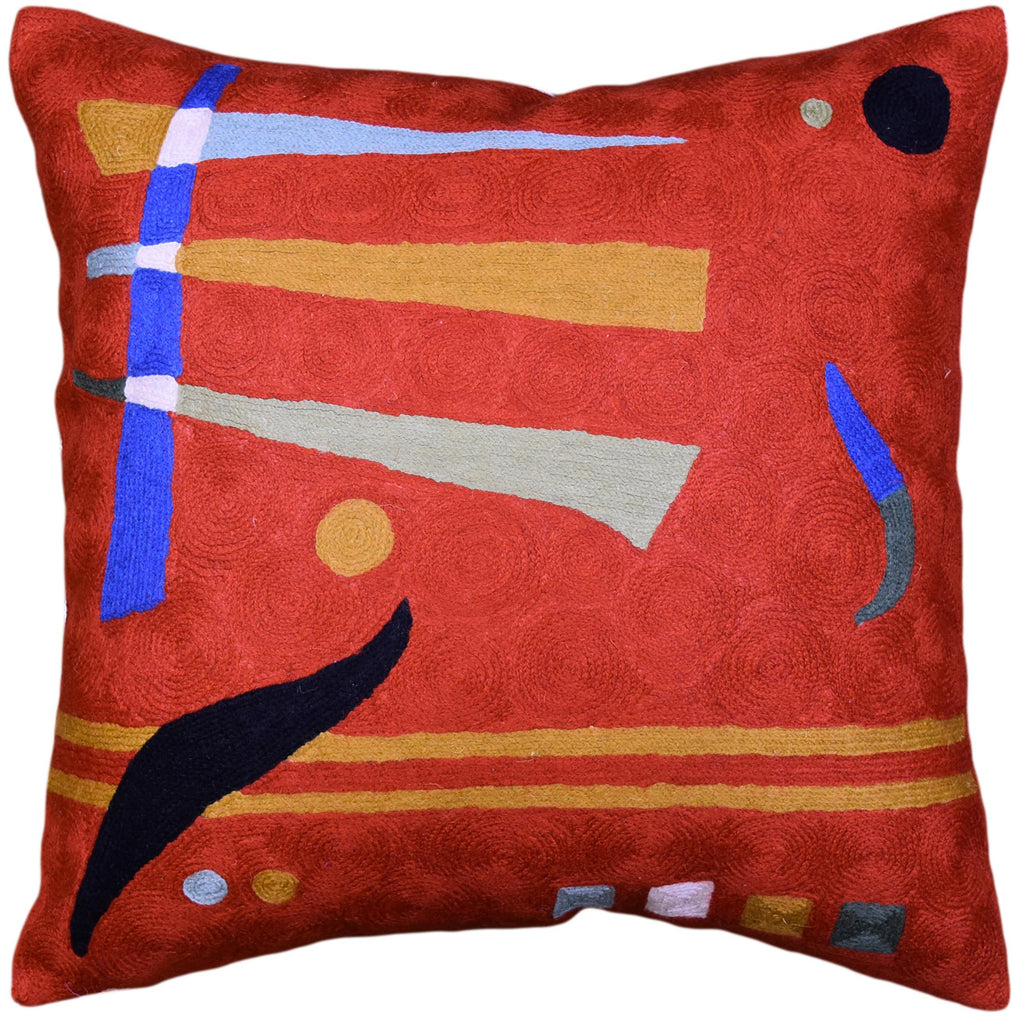 Kandinsky Pillow Cover Needlepoint Orange Hand Embroidered Wool 18x18""