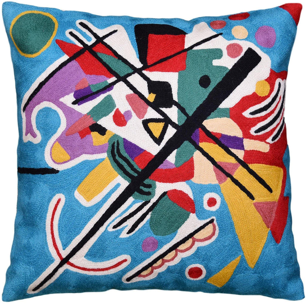Kandinsky Decorative Pillow Cover Blue Painting Abstract Cushion Wool HandEmbroidered 18x18