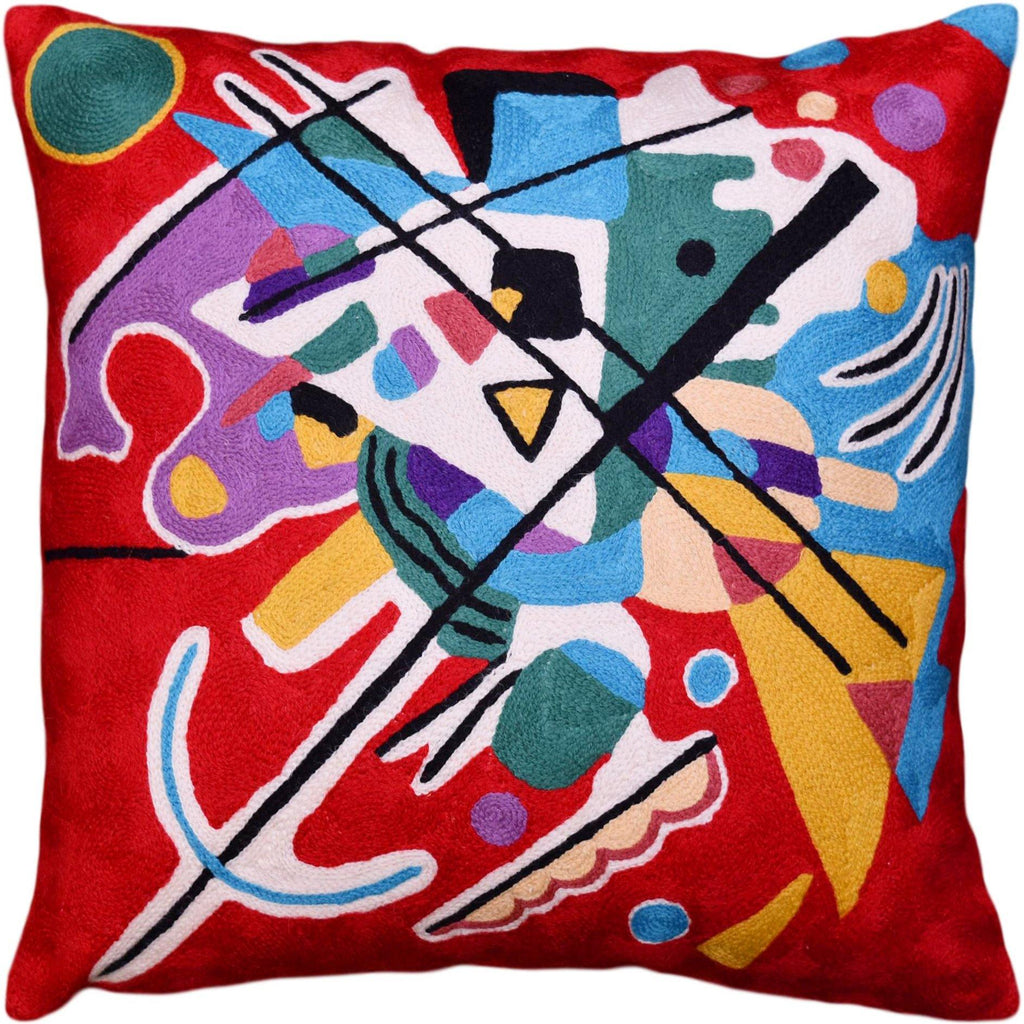 Kandinsky Decorative Pillow Cover Red Painting Abstract Cushion Wool HandEmbroidered 18x18