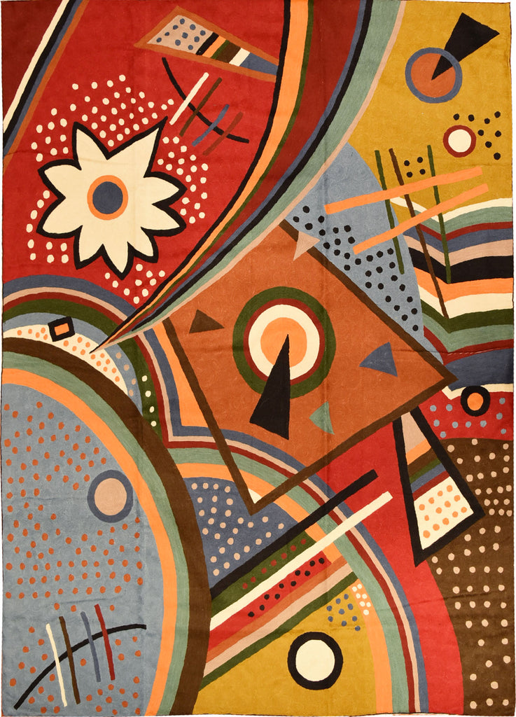 Kandinsky Tapestry 5ftx7ft Point of Life Wall Hanging Abstract Rug Carpet Wool - KashmirDesigns