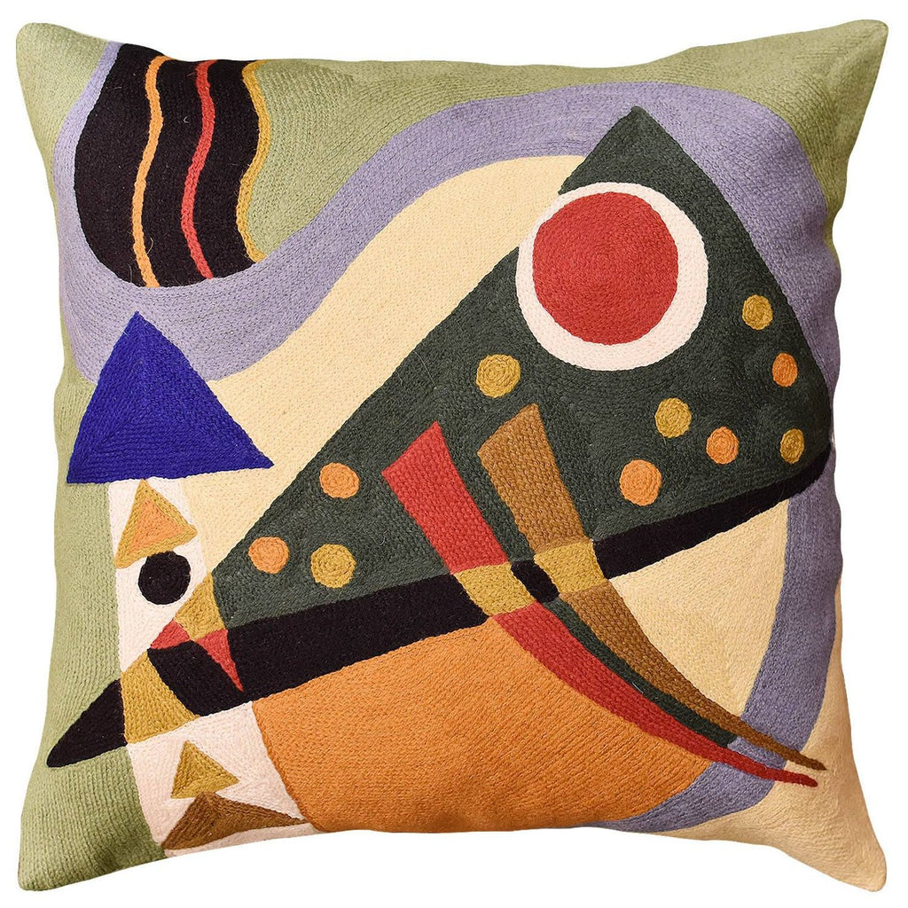 "Kandinsky Green Decorative Pillow Cover Composition VII Abstract Cushions Hand Embroidered Wool 18x18"" - KashmirDesigns"