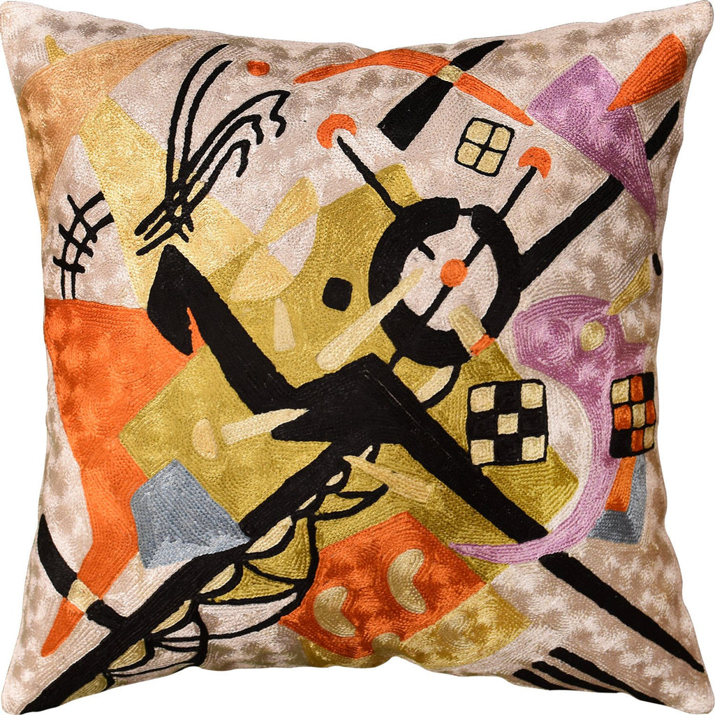 Kandinsky Pillow Cover On White Decorative Pillows Hand Embroidered Art Silk 18x18""