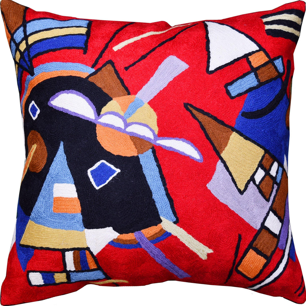 Kandinsky Bright Red Pillow Cover Reds Painting Decorative Cushions Hand Embroidered 18x18""