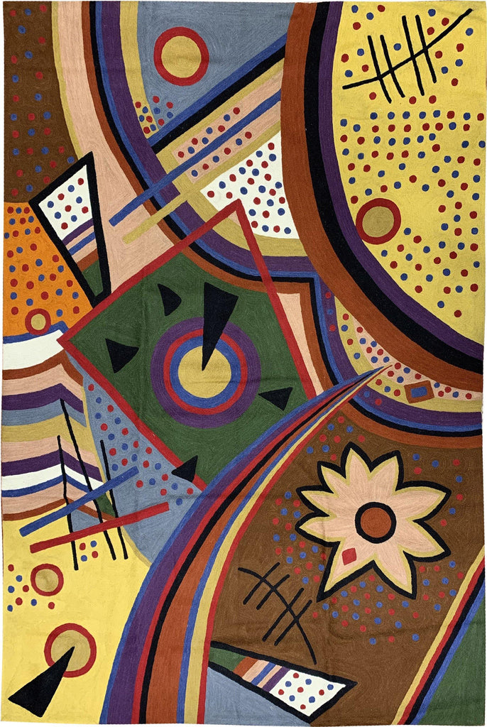 6ftx4ft Kandinsky Tapestry Point of Life Wall Art / Rug Carpet Hand Embroidered Wool - KashmirDesigns