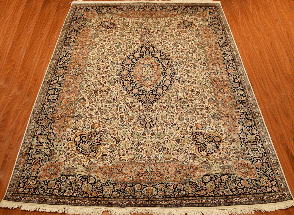 9'x12' Cream Kashan Rug Silk Oriental Area Rugs Persian Style Carpet Hand Knotted