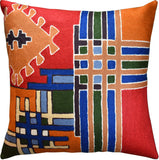 Tribal Burdock Aztec Southwestern Throw Pillow Cover Handembroidered Wool 18x18