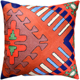 Tribal Dragon Aztec Southwestern Accent Pillow Cover Handembroidered Wool 18x18