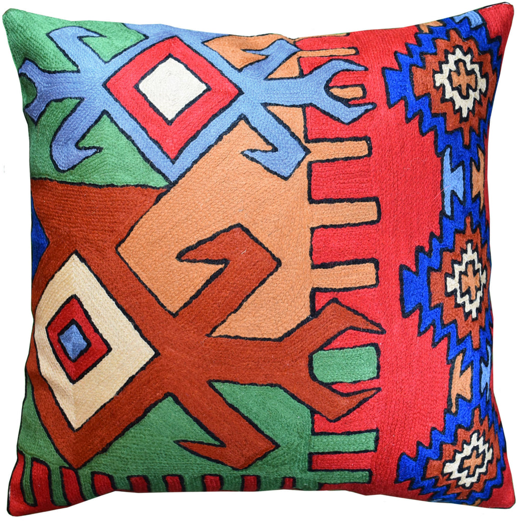 "Tribal Scorpion Aztec Southwestern Pillow Cover Handembroidered Wool 18x18"" - KashmirDesigns"