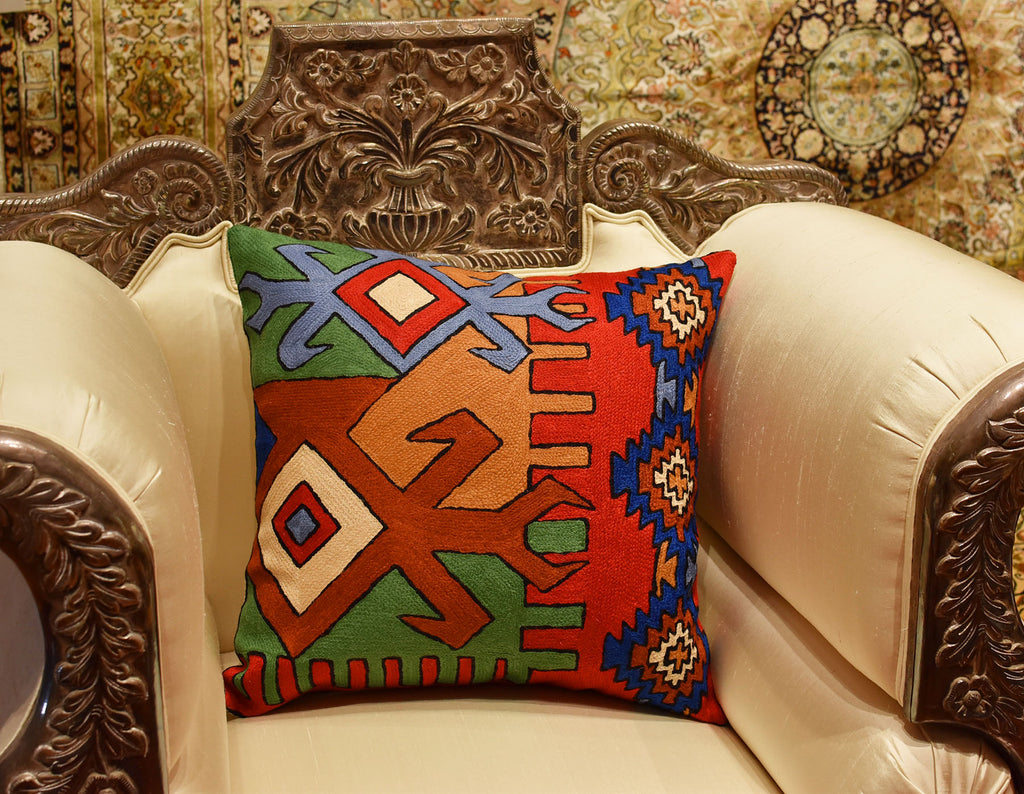 Tribal scorpion aztec southwestern decorative pillow cover handembroidered wool 18x18 double click for enlarge