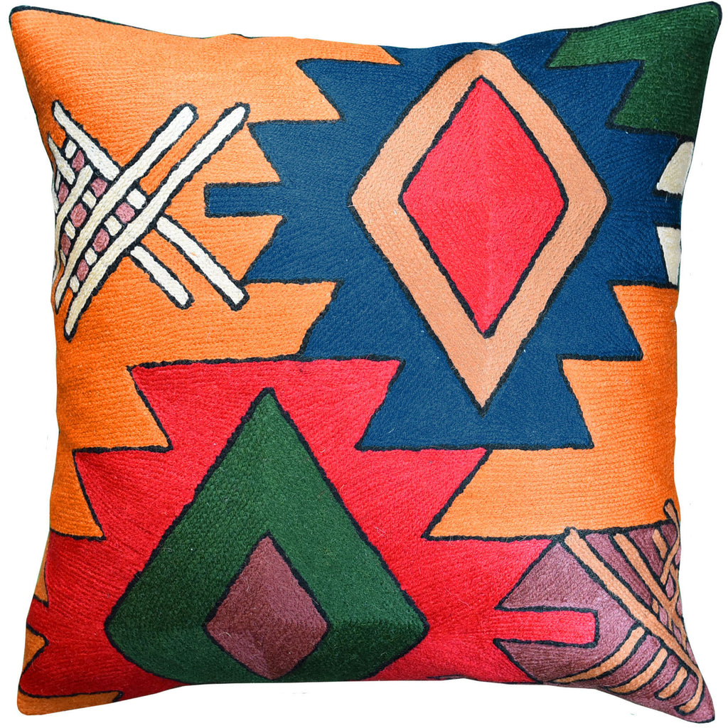 "Tribal Star Dragon Southwestern Accent Pillow Cover Handembroidered Wool 18x18"" - KashmirDesigns"