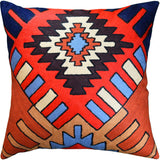 Tribal Aztec Southwestern Decorative Pillow Cover Handembroidered Wool 18x18