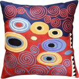 Klimt Fire Red Navy Modern Decorative Pillow Cover Handembroidered Wool 18x18