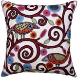 Klimt Ivory Pillow Cover Birds Tree of Life Cream Decorative Cushion Wool 18x18