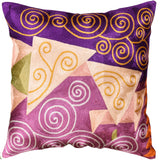 Klimt Violet Purple Decorative Pillow Cover Handembroidered Accent Pillows Art Silk 18x18