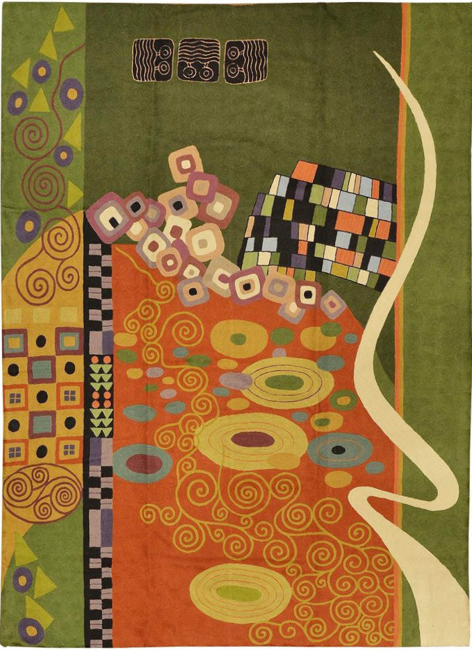 Klimt 5ft x 7ft Green Art Nouveau Wool Rug / Wall Tapestry Hand Embroidered - KashmirDesigns