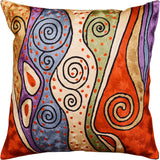 Klimt Rust Night Sky Decorative Pillow Cover Handembroidered Art Silk 18x18