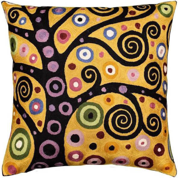 "Klimt Tree of Life Yellow Pillow Cover Soulful Hand-Embroidered 18"" x 18"" - KashmirDesigns"