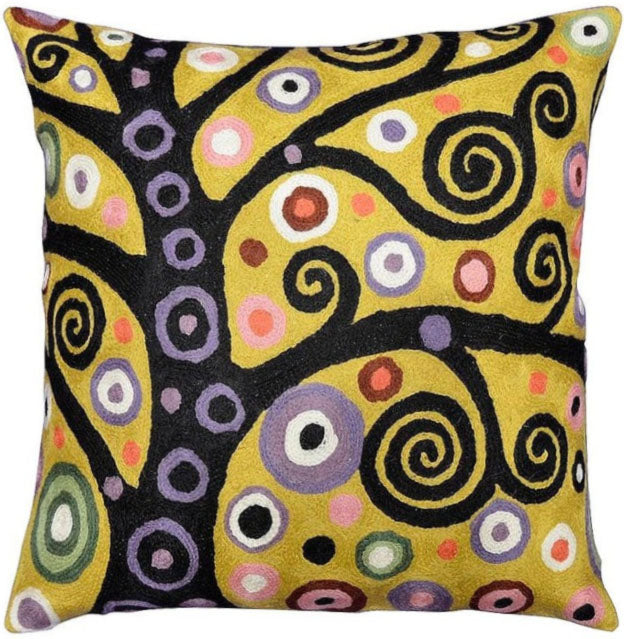 "Klimt Accent Pillow Cover Soulful Tree Of Life Accent Hand Embroidered 18"" x 18"" - KashmirDesigns"
