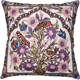 Lavender Bird & Butterflies Decorative Pillow Cover Tree of Life Handembroidered Wool 18x18