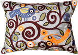 Lumbar Pillow Cover Klimt Tree Of Life Birds Blue Accent Pillows Hand Embroidered Art Silk 14x20