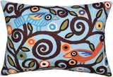 Lumbar Blue Tree Of Life Pillow Cover Birds Accent Pillows Hand Embroidered Wool 14x20