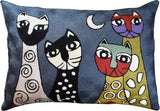 Lumbar Picasso Dark Gray Cats Accent Pillow Cover Handembroidered Wool 14x20