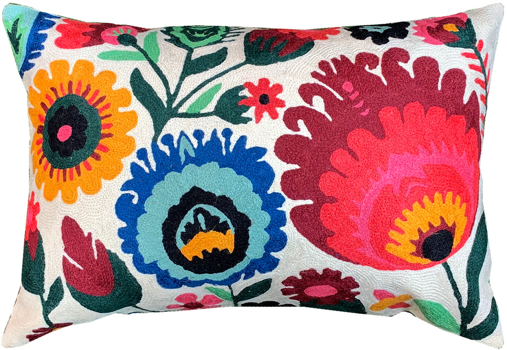 "Lumbar Ornamental Floral Bloom Accent Pillow Cover Handembroidered Wool 14x20"" - KashmirDesigns"