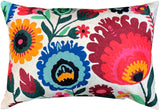 Lumbar Ornamental Floral Bloom Accent Pillow Cover Handembroidered Wool 14x20