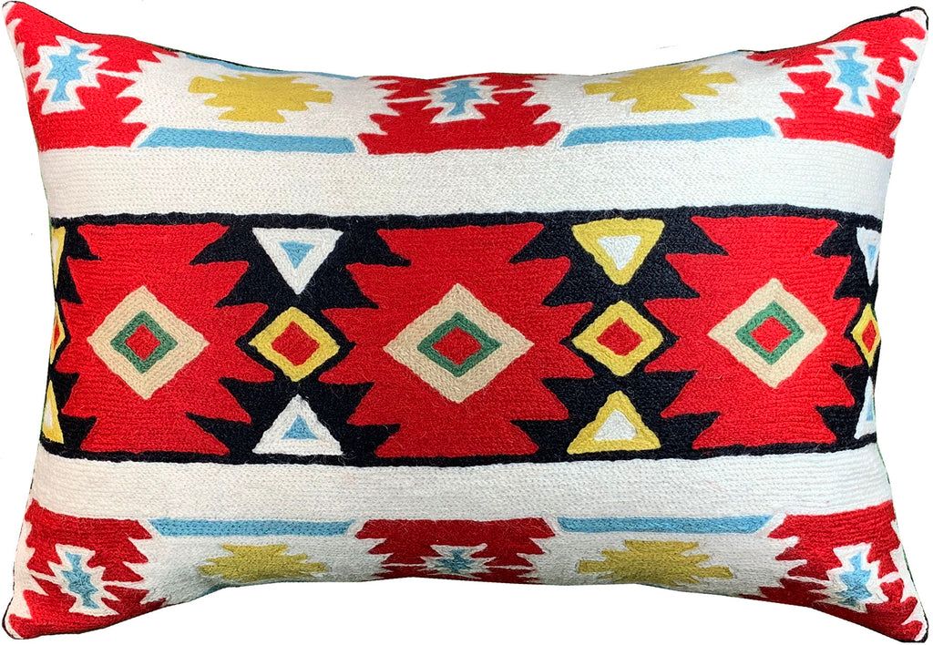 "Lumbar Tribal Butterfly Aztec Southwestern Pillow Cover Handmade Wool 14x20"" - KashmirDesigns"