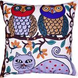 Two Owls on Tree Cat Decorative Pillow Cover Whimsical Handembroidered Wool 18x18