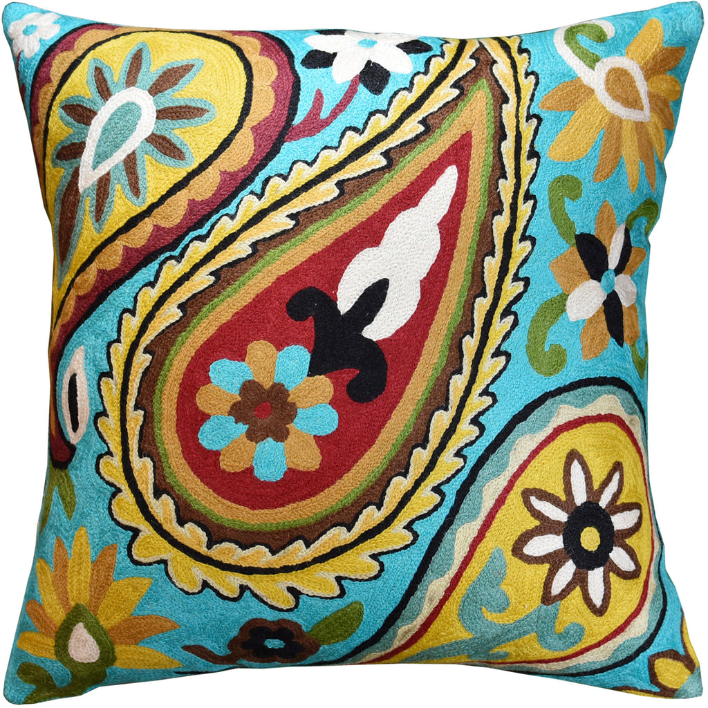 "Suzani Paisley Bright Turquoise Accent Pillow Cover Handembroidered Wool 18x18"" - KashmirDesigns"