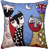 Picasso Blue Cat Pillow Cover Quadruplets Whimsical Hand Embroidered Wool 18x18