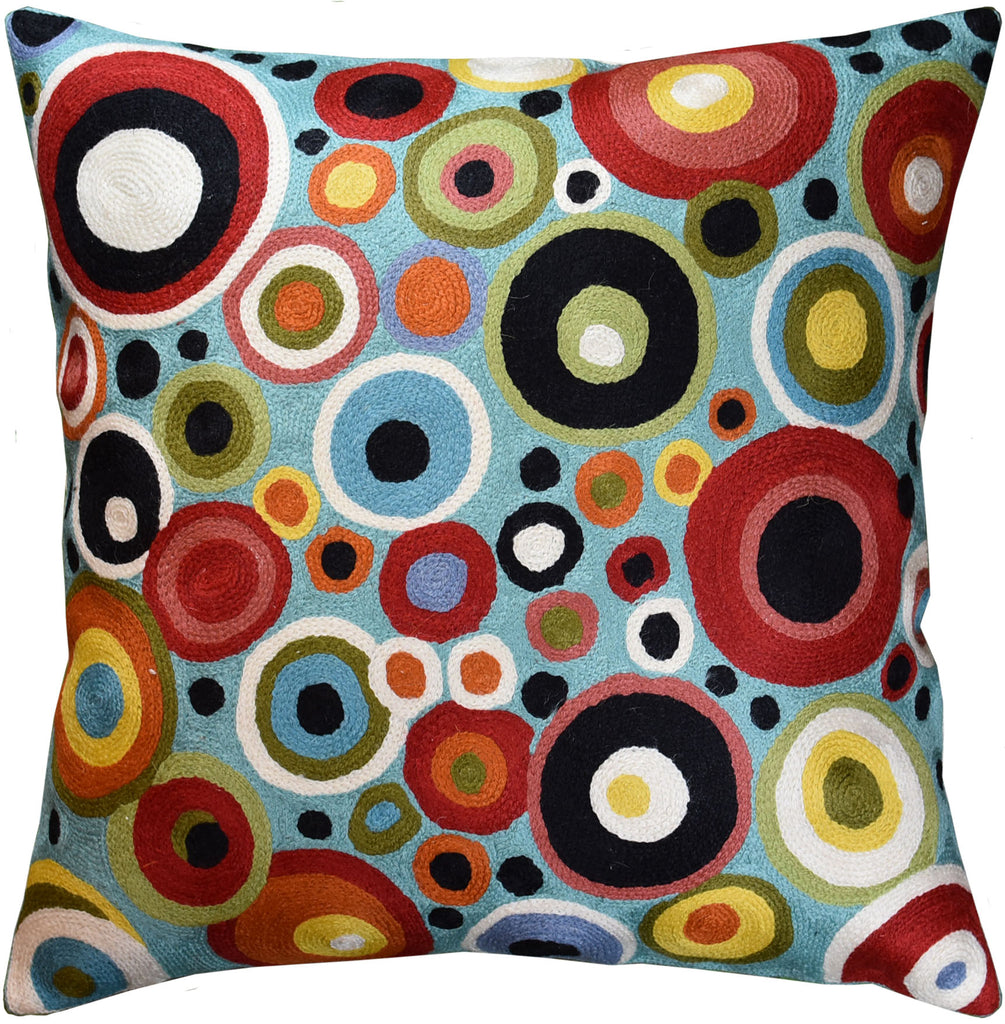 Polka Dots Bubbles Turquoise Decorative Pillow Cover Handembroidered