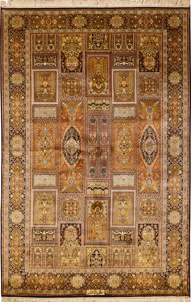 6'x4' Qum Pure Silk Shalimar Area Rug Carpet Tree of Life Oriental Hand Knotted - KashmirDesigns
